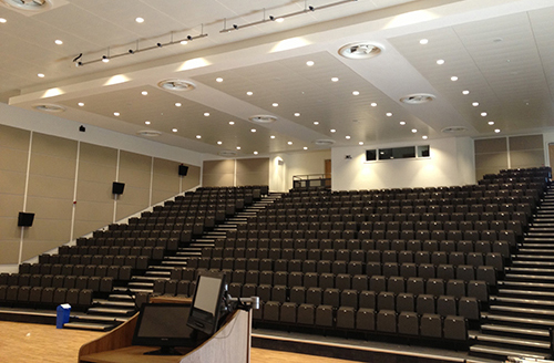 Specialist design and installation of School Hall LED Stage