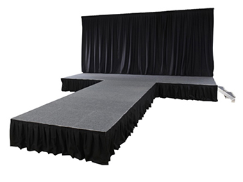 portable demountable stage system with rear drape