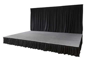portable demountable stage system with rear drape for hire uk